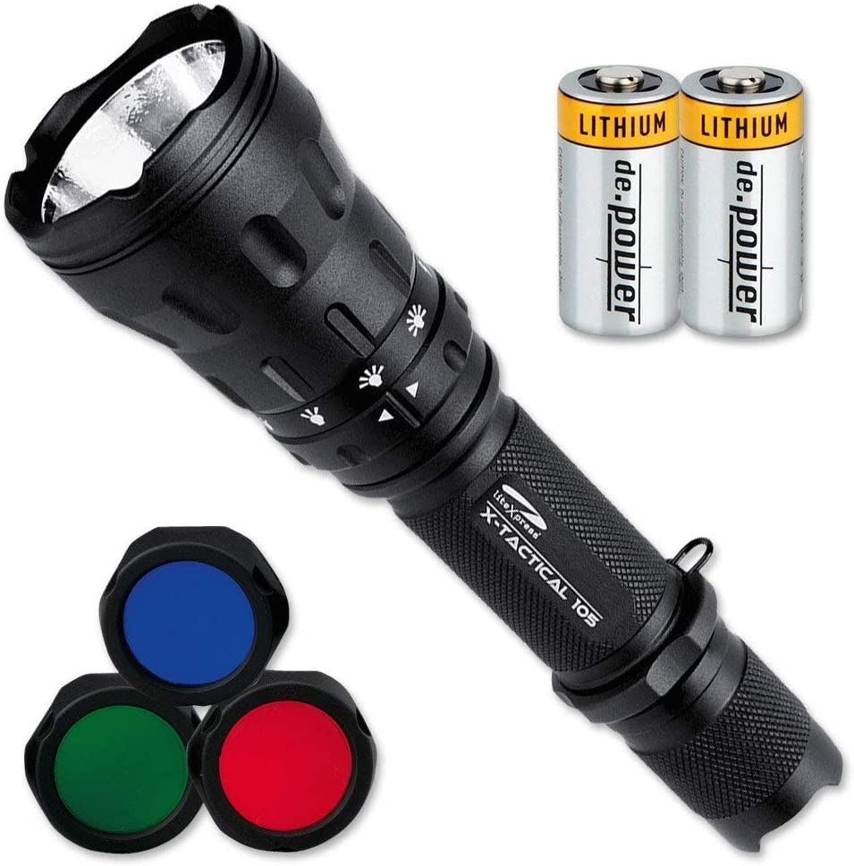 This is an image of a LiteExpress flashlight, with three detachable color lens and two lithium batteries.