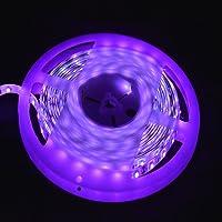 apatner 5m/5m UV Negro luces impermeable SMD3528/5050395–405nm 300/600LED Ultra morado–Tira de Luces LED DC12V PCB negro, 3528 60led uv