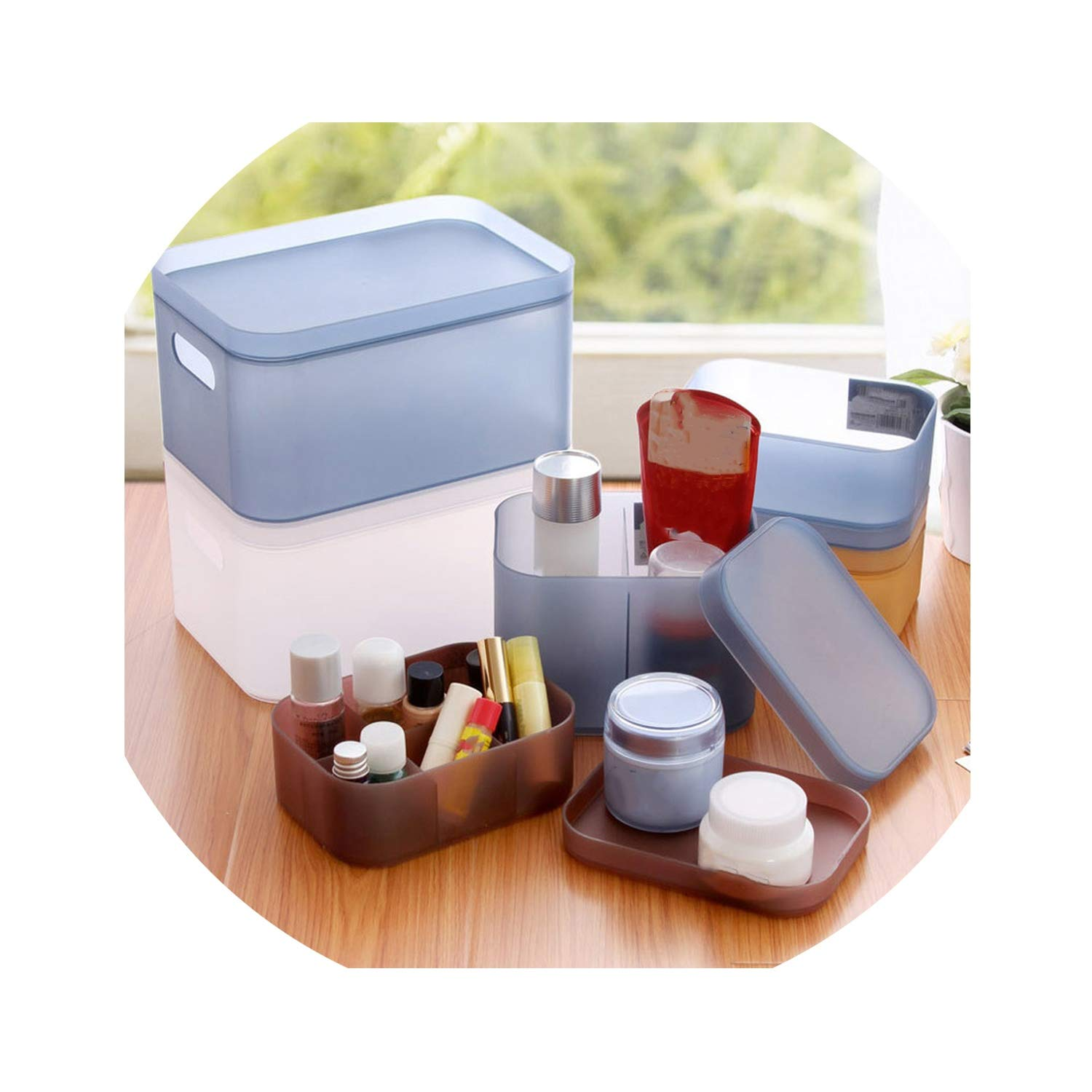 I'll NEVER BE HER with Thick Plastic Covered Cosmetics Receive A Case Free Combination Desktop Clutter Storage Box Store Content Box,S 15.5X11X7Cm 6 Grid,White