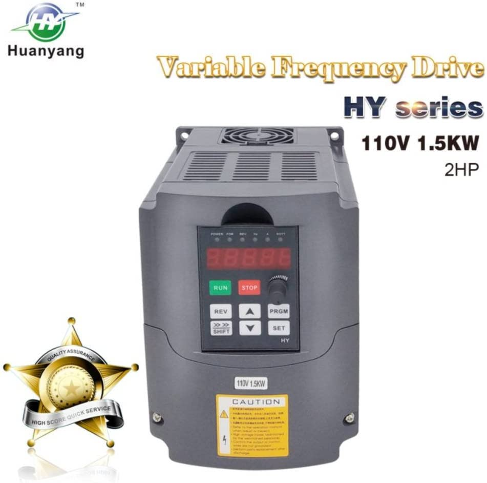 VFD 110V 1.5KW 2hp Variable Frequency Drive CNC Drive Inverter Converter for 3 Phase Motor Speed Control (1.5KW, 110V)