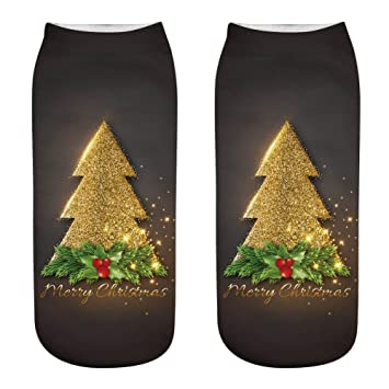 Scrox 1 Pares Navidad Calcetines para Hombre/Mujer 3D Papá Noel Patrón Socks Unisex Casual Piso Calcetines Festivo Decoración Navideña Regalo (Style-30): ...