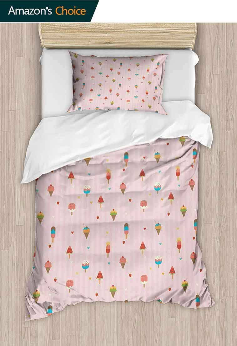Ice Cream Printed Quilt Cover and Pillowcase Set,Pastel Pink Striped Backdrop with Hearts Different, Bedding Set with Zipper Ties 1 Duvet Cover 1 Pillow Sham Ultra Soft Luxurious Breathable Multicolor