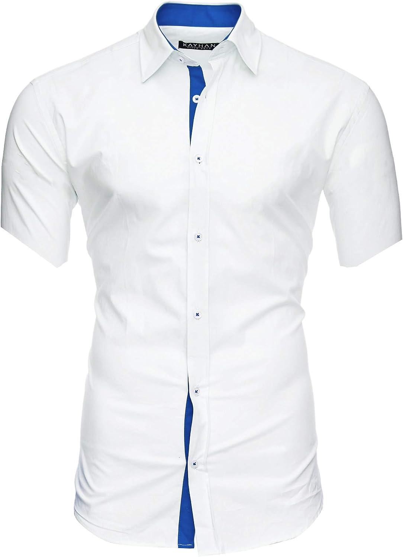 Kayhan Florida Herren-Hemd Slim-Fit Kurzarm-Hemden S-6XL