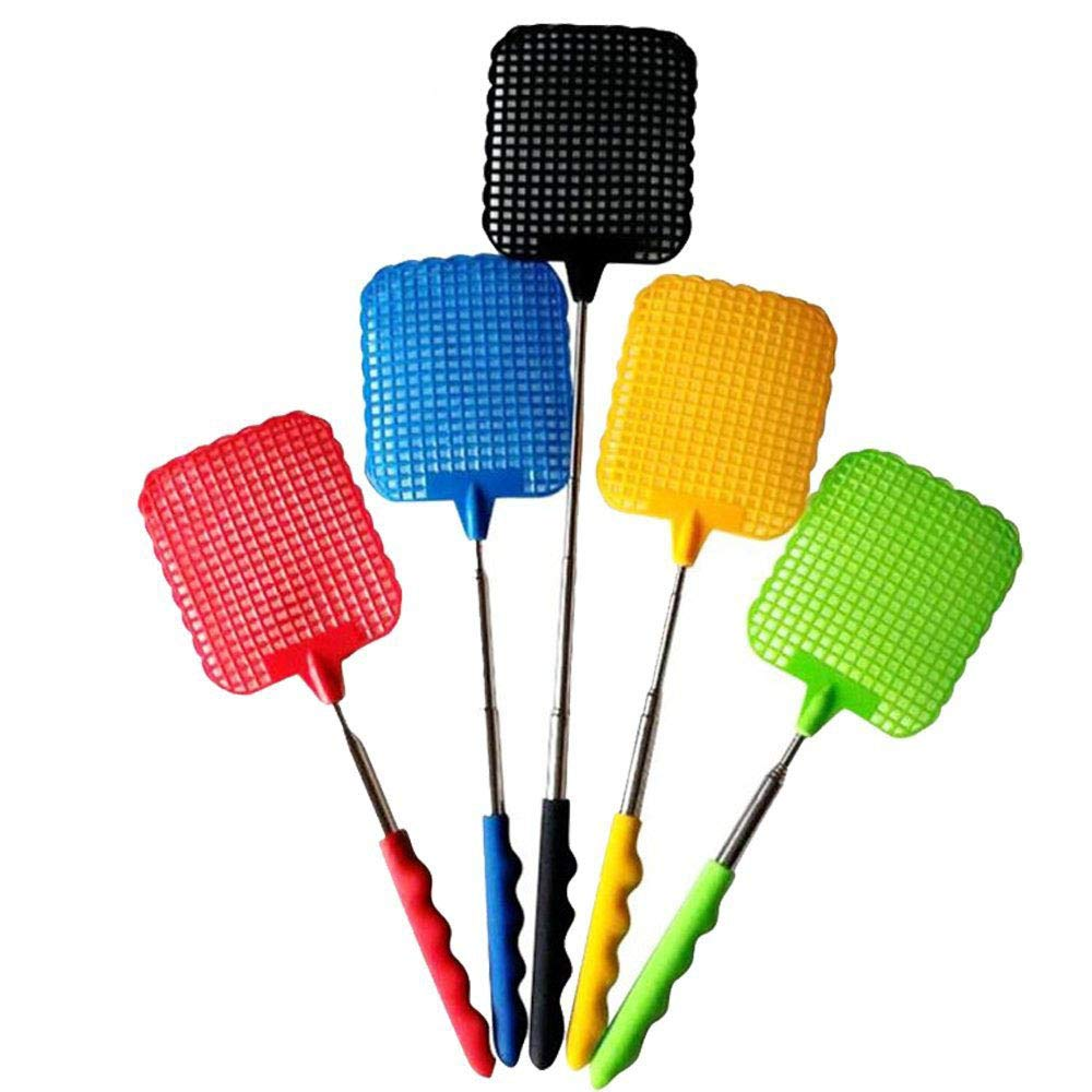 IYSHOUGONG 5 Pcs Plastic Swatter Telescopic Extendable Flapper Fly Prevent Pest Mosquito Tool,Color Random