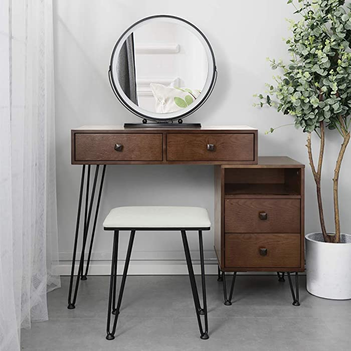 Vanity Set with Adjustable Touch Screen Lighted Mirror, Wood Makeup Dressing Table with Metal Legs, Bedroom Vanity Desk Storage Cabinet + Cushioned Dresser Iron Stool