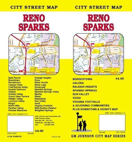 reno nevada street map Reno And Sparks Nv Street Map G M Johnson 9781926532219 reno nevada street map