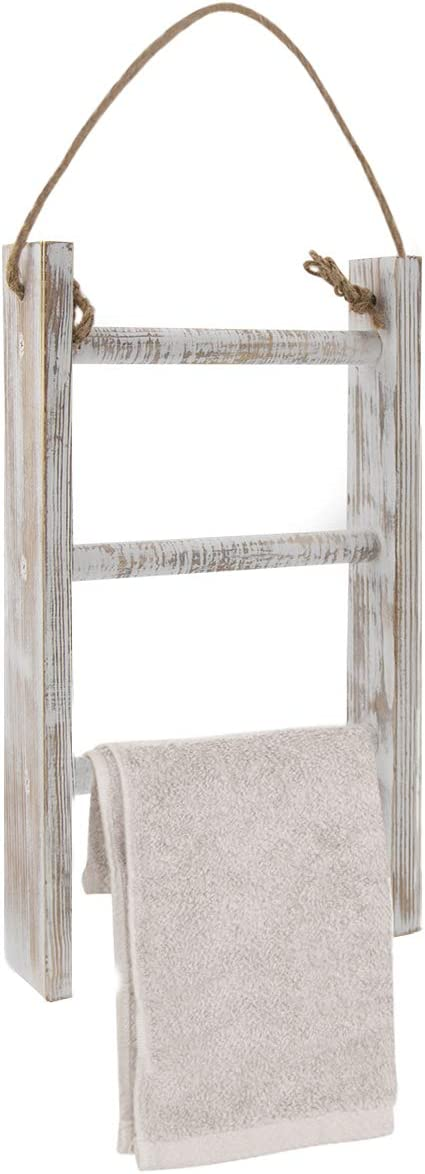 Honest 3-Tier Towel Ladder Wall-Hanging Towel Ladder with Rope,Rustic Wood Decorative Ladder,Bathroom Farmhouse Decor Whitewashed