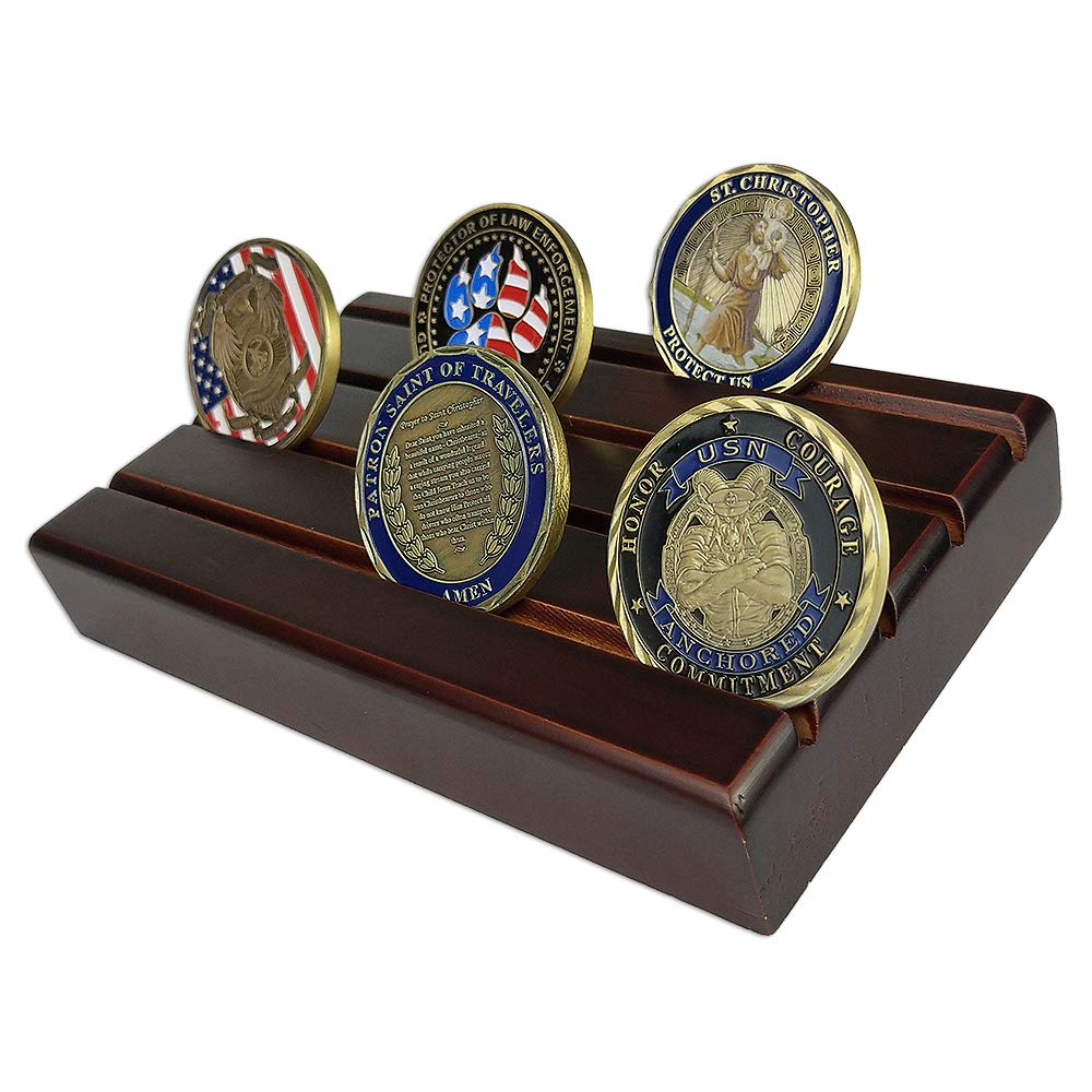 atsknsk Military Challenge Coin Display Holder Stand Wooden(4 Rows, Small)