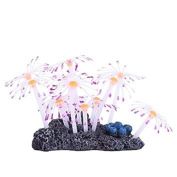 YiZYiF Figura decorativa para acuario, efecto brillante, diseño de pecera