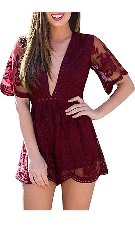 Wicky LS Women's Sexy Short Sleeve Long Dress Low V-Neck Lace Romper