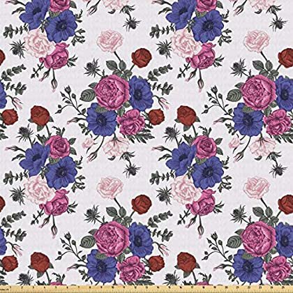 Image of Ambesonne Anemone Flower Fabric by The Yard, Bouquets of Roses Anemones Eustoma Colorful Corsage Bedding Plants Design, Stretch Knit Fabric for Clothing Sewing and Arts Crafts, 10 Yards, Multicolor Home and Kitchen
