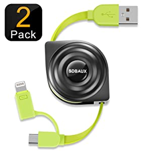SDBAUX Retractable Phone Charging Cable, Micro USB 2 in 1 Charger Cord and Data Sync Compatible/Replacement for iPhone Xs Max XR X 8 7 6 Plus 5s Samsung Galaxy S6 S7 Edge Note 5 LG HTC (2pack/3.3ft)