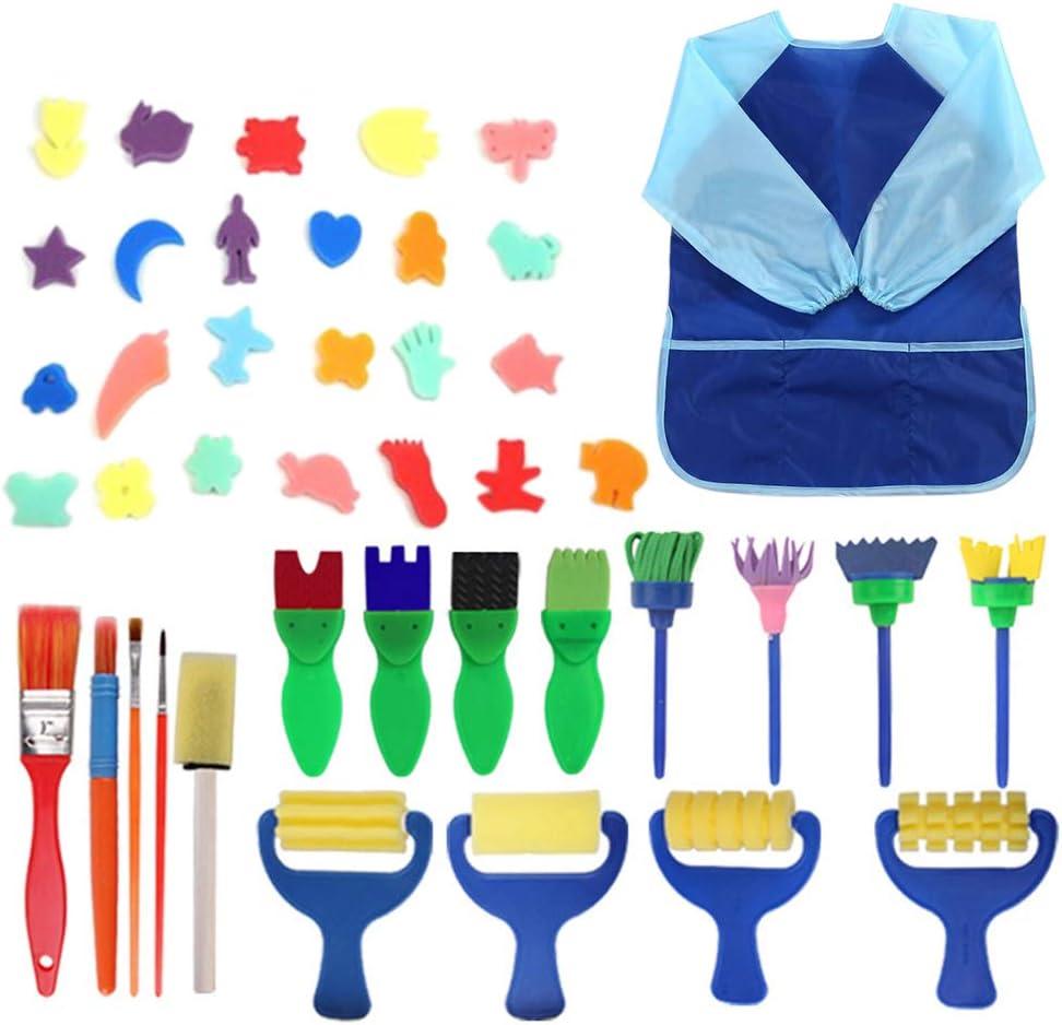 42PCs Kids Paint Brushes Sponge Painting Brush Tool Set for Children Toddler Toy