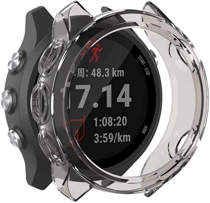 Coque de Protection pour Garmin Forerunner 245M//245 TPU Transparent de Protection Contre Les Rayures Coque de Protection Universelle Snlaevx Noir