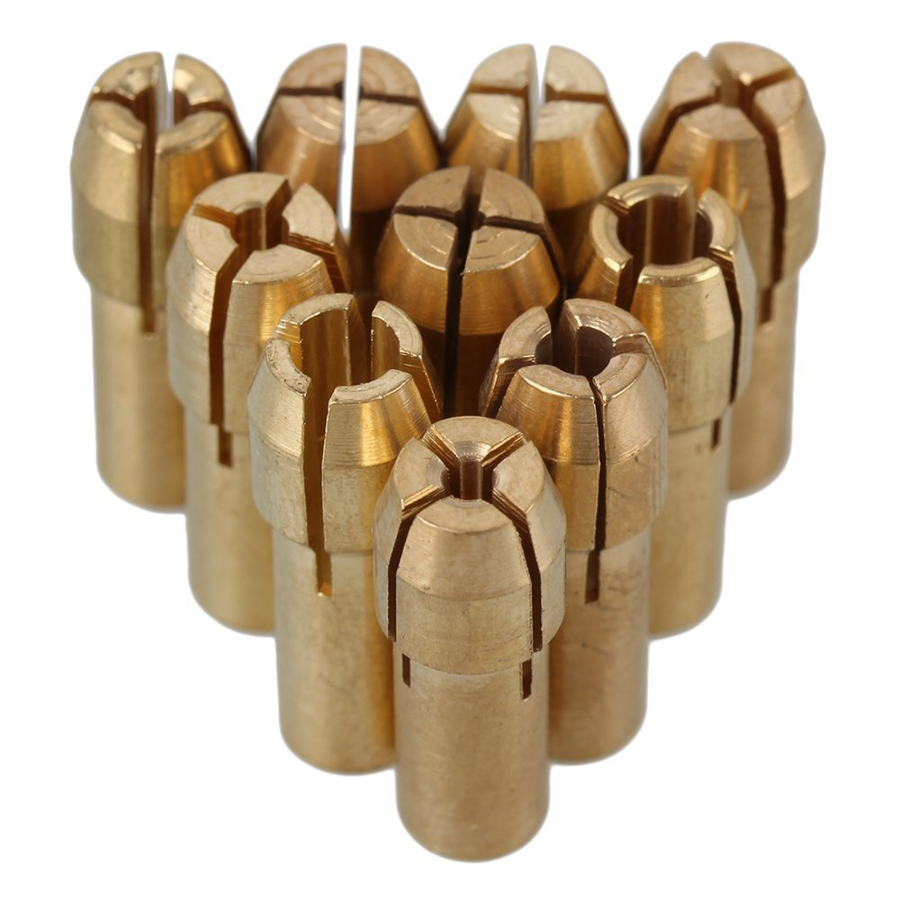 CNBTR Collet Drill Chuck Electric Grinding Drill Collect Chuck Holder 0.5-3.2mm Brass 4.8mm Shank Dia Pack of 10 yqltd