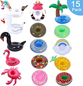 Inflatable Drink Holder, 15 Pack Pool Drink Floats Inflatable Cup Holders Party Accessories Cup Flamingo Coasters for Swimming Pool Party Beach & Kids Water Bath Fun Toys