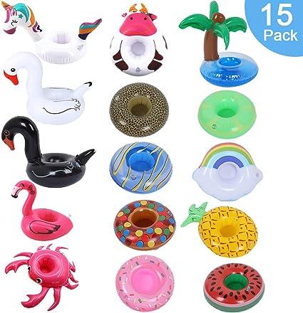 ArtioHipo Portavasos Inflable para Bebidas, 15 Unidades de flotadores inflables para Piscina, Playa, baño de Agua, Juguetes Divertidos: Amazon.es: Juguetes y juegos