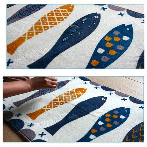 A.B Crew Modern Kitchen Floor Carpet Washable Bathroom Rug Kitchen Non-Slip Runner Rug(Fish,17.72