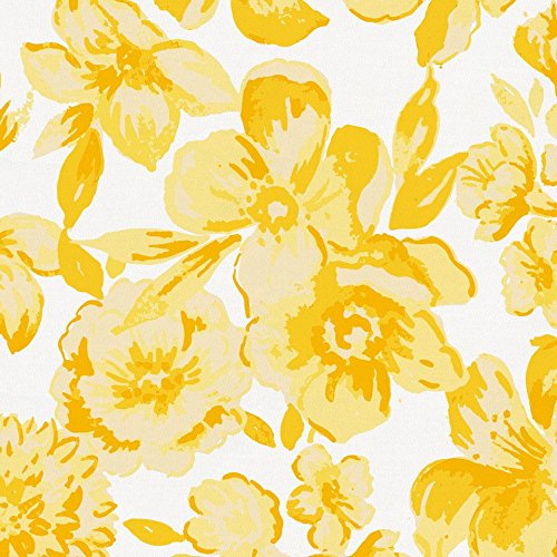 Carousel Designs White and Yellow Floral Fabric by The Yard - Organic 100% Cotton ()