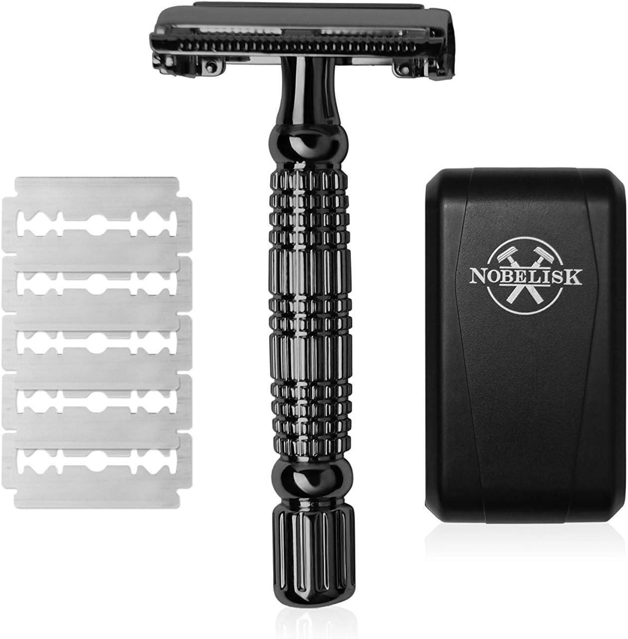 Afeitadora Nobelisk Premium con 5 hojas de afeitar | Afeitadora húmeda afilada con cabezal de afeitado de 2 lados para hombres | Cepillo de barba para cambio rápido de hoja (negro)