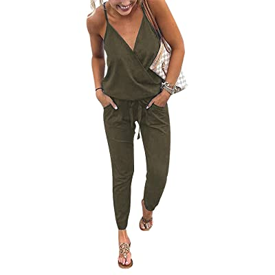 Adibosy Women V Neck Jumpsuits Overalls Strap Sleeveless Summer Casual Playsuit Rompers with Pockets Green L: Clothing