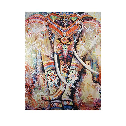 Chic hippie elephant printed colorful bohemian mandala tapestry wall hanging decor beach towel Colorful elephant home decor
