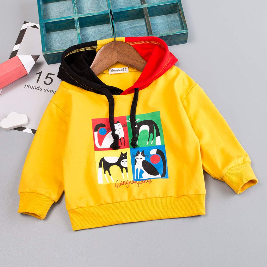 0-5 Years Toddler Baby Kids Boys Character Letter Hooded Pullover T-Shirt Tops Clothes Lonshell Pyjamas Tops Outfits Trouser Tops