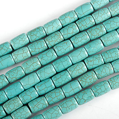 JARTC Natural Green Turquoise Barrel shape beads Loose for Jewelry Making 15
