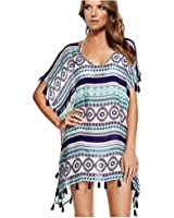 NFASHIONSO Women's Cover-Up Stripes Macrame Chiffon Beachwear