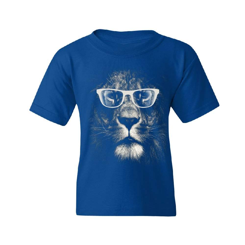 Hipster White Lion with Glasses Youth T-Shirt Animal Lovers Gift Tee Royal Blue Youth X-Large
