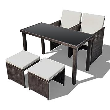 Poly Rattan Gartenmöbel Essgruppe Gartenset 2 Stühle 2 Hocker