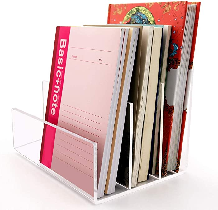 Acrylic Desktop File Sorter Holder,Clear Office File Organizer for Document Paper Letter Book Envelope Laptop