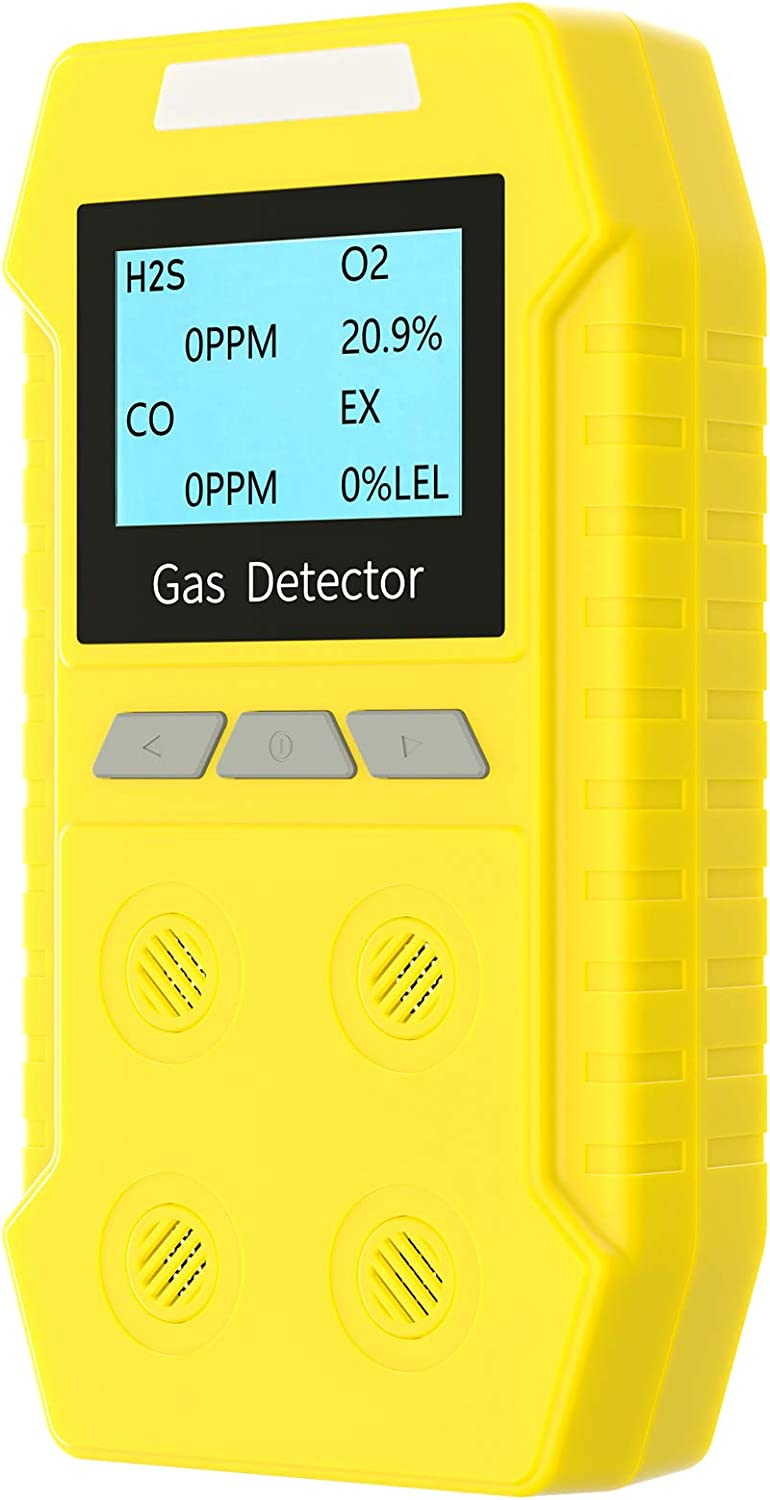 Portable Gas Detector 4 in 1, Multi Gas Alarm Monitor Gas Leak Detector, 2500mAh Rechargeable Gas Meter Tester Analyzer with Sound Light Vibration Alarm for More 12 Continuous Hours Life