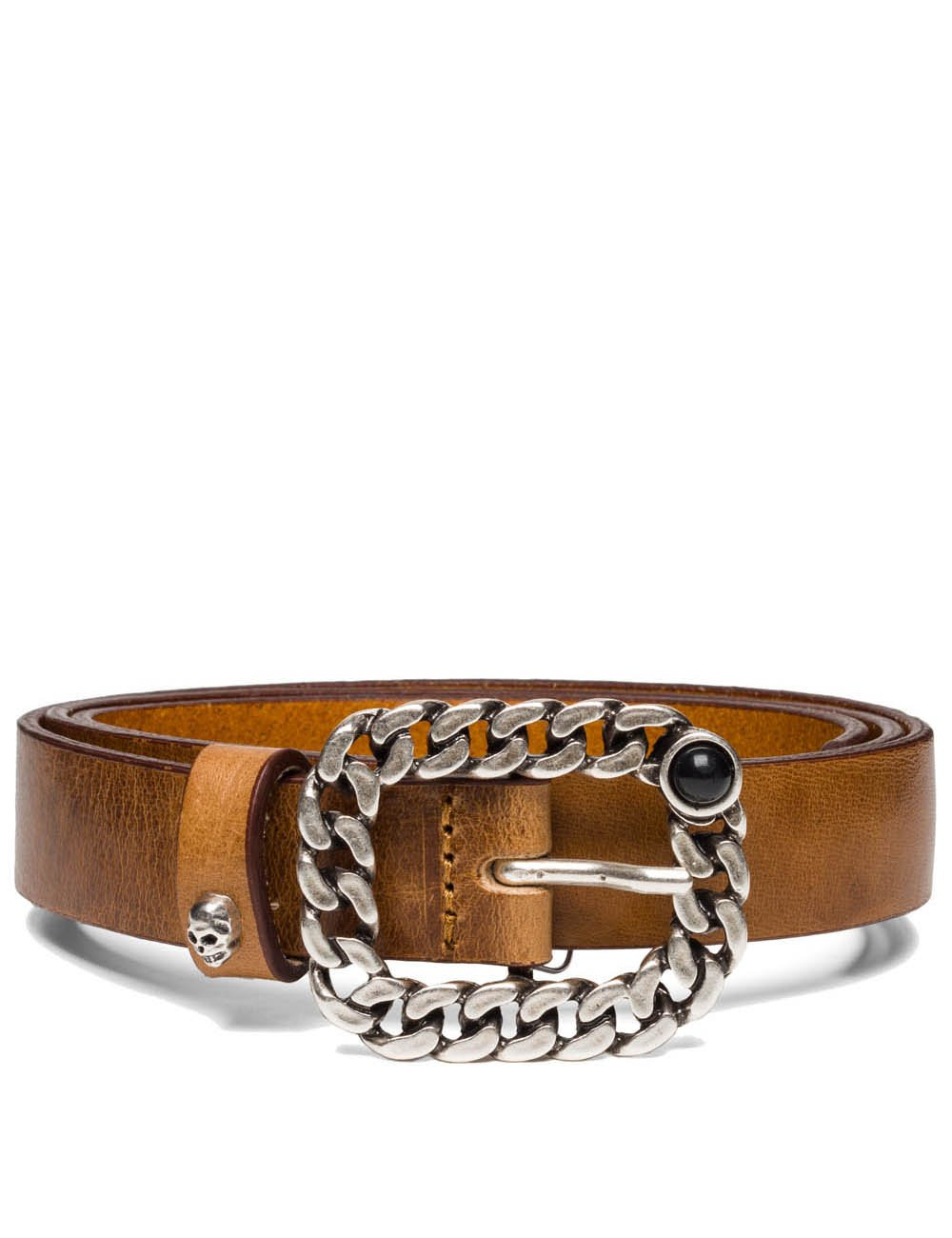 Replay Women's Women's Leather Tan Belt With Chain Buckle in Size 90 Brown
