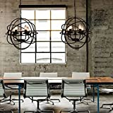 Aiwen Vintage Sphere Pendant lamp Black Iron Sphere Cage Hanging Lamp Candle Chandelier Globe Chandelier-5 Light