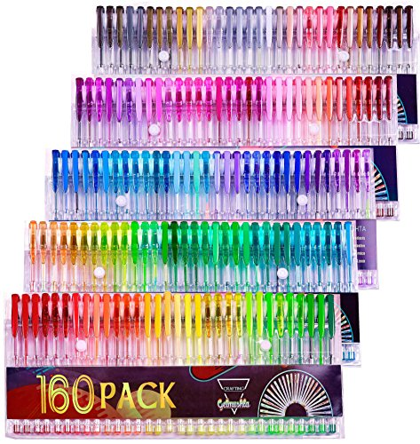 Gelmushta Gel Pens 160 Unique Colors (No Duplicates) Set for Adult Coloring Books Drawing with Case by AHOMATE