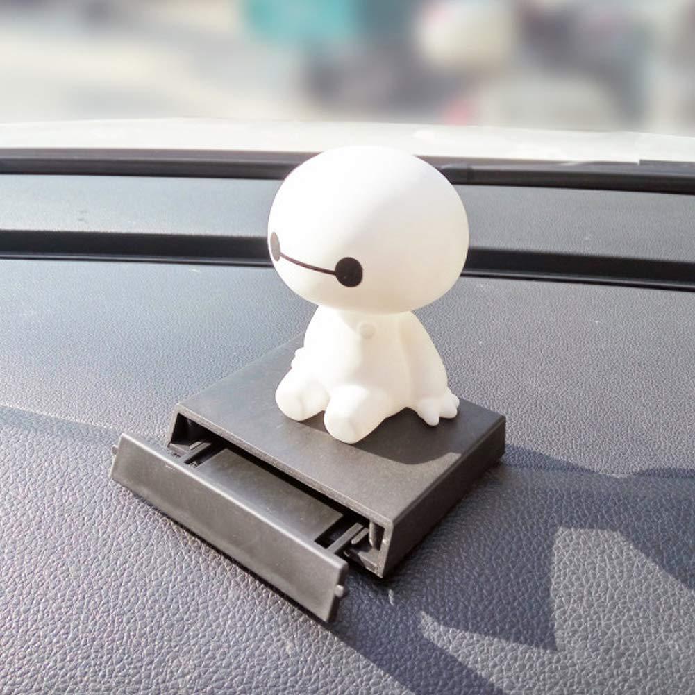 Flyes Robot scuotere la Testa Figura Auto Decorazioni Ornamenti Auto Interni Grande Bianco Bambola Giocattoli Ornamento Accessori 8cm White 13 9