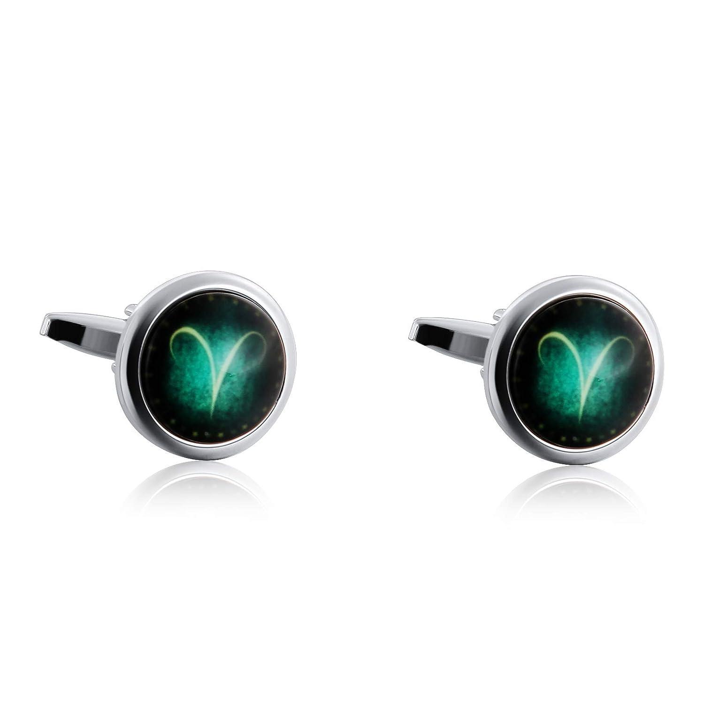 Bishilin Gioielli Gemelli Uomo Acciaio Inossidabile 12 Costellazione Ariete-Pesci Pietra Verde Gemelli da Polso Camicia Argento