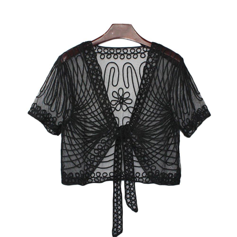 FuturaLondon Womens Black 3//4 Sleeve Floral Pattern Lace Shrug Cardigan Bolero Top