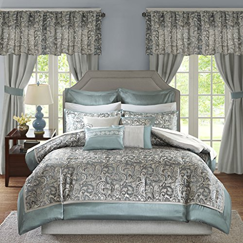 Madison Park Essentials Brystol Cal King Size Bed Comforter Set Room in A Bag - Teal, Grey, Jacquard Embroidered Paisley - 24 Pieces Bedding Sets - Faux Silk Bedroom - Panel Bedroom King Cal Set