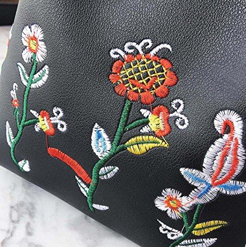 bolso crossbody hombro por Negro de las bolsa bolso Morwind niñas floral retro Simple q4Tpzw