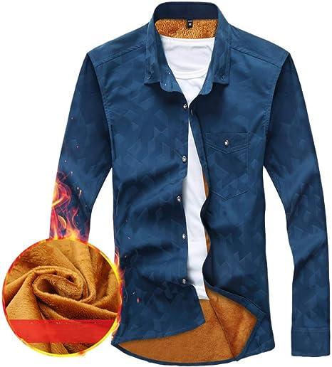 ZHANGSL - Camisa de Terciopelo para Hombre, diseño de Botones a Cuadros con Camisa de Solapa, Manga Larga, cálida y Gruesa: Amazon.es: Deportes y aire libre