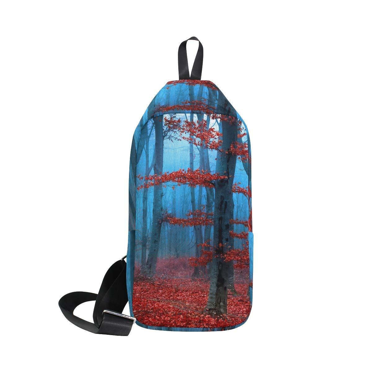 TFONE Autumn Fall Maple Leaf Crossbody Bag Lightweight Chest Shoulder Messenger Pack Backpack Sling Bag