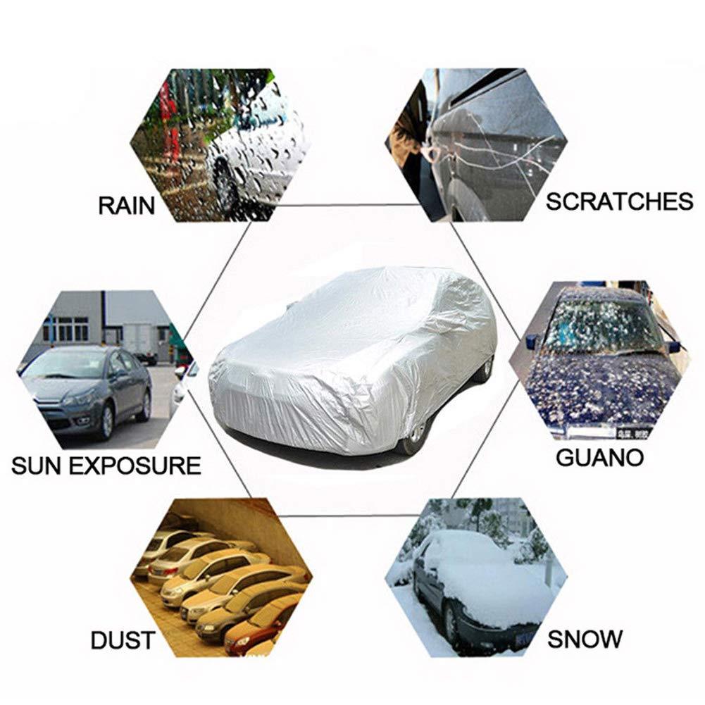 Housse de voiture Universal d/échirures prot/ég/é contre la poussi/ère la chaleur S/éparation Enti/èrement /étanche anti-rayures de voiture Housse de protection Rev/êtement Argent/é