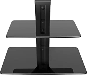 PERLESMITH Floating Wall Mounted Shelf Double AV Shelf with Strengthened Tempered Glasses for DVD Players,Cable Boxes, Games Consoles, TV Accessories - Holds up to 16.5 lbs
