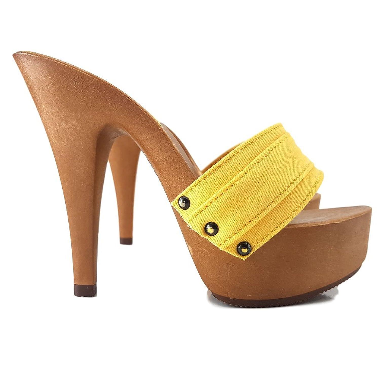 kiara shoes K9301 Giallo - Zuecos de Lona para mujer Amarillo amarillo 37 41 EU