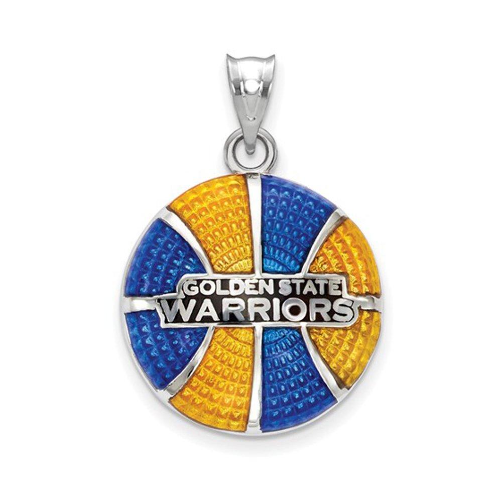 LogoArt NBA Golden State Warriors Large Disc Pendant in Sterling Silver