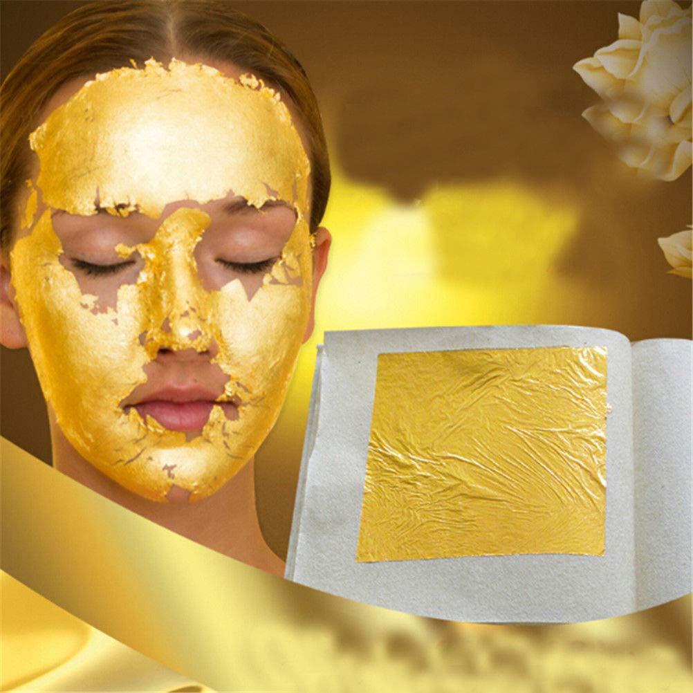 OOHHOO 50Pcs 24K Pure Gold Edible Real Gold Leaf Sheet Gilding Craft Mask SPA 4.33cm