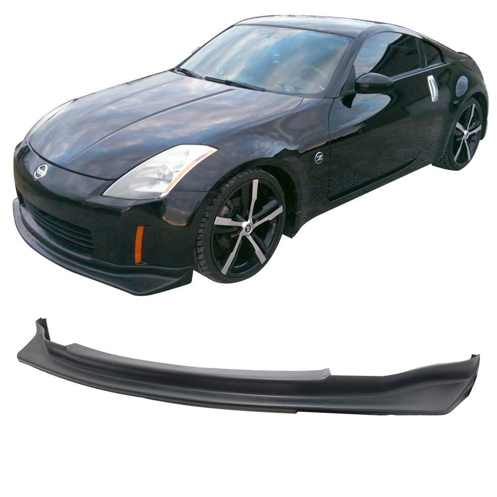 J Style Black PU Rear Lip Finisher Under Chin Spoiler Underspoiler Splitter Valance Underbody Bumper Fascia Add On by IKON MOTORSPORTS Rear Bumper Lip Compatible With 2003-2008 Nissan Fairlady Z Z33 350Z