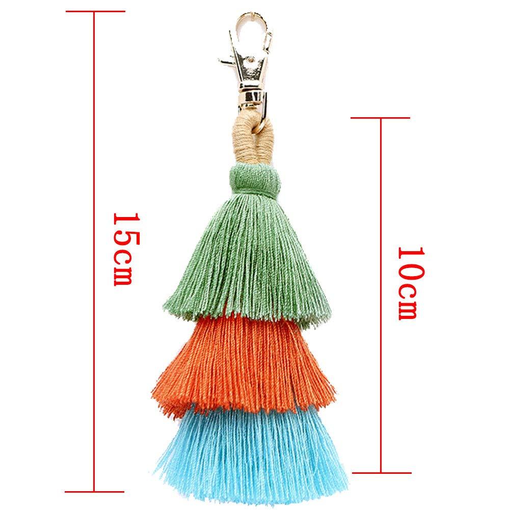Sac Boho Tassel Charm Keyring Pompons Porte-Cl/és Sacs /à Main Pendentif Purse Accessoires Porte-Cl/és Color/és Pour Les Filles De Femmes